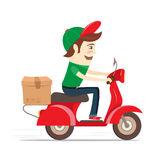 Смешной носильщик мелких грузов поставляя коробку самокатом Плоская иллюстрация вектора Стоковая Фотография