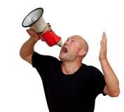 Смешной облыселый человек с мегафоном Стоковая Фотография