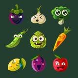 Смешной овощ и плодоовощ, комплект иллюстрации вектора бесплатная иллюстрация