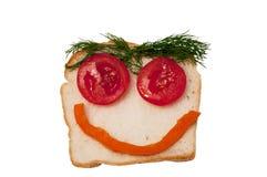 смешной открытый сандвич Стоковое Изображение RF
