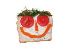 смешной открытый сандвич Стоковое фото RF