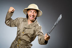 Смешной охотник сафари Стоковые Фото