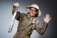 Смешной охотник сафари Стоковое Изображение