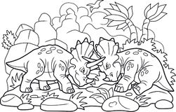Смешной один другого боя динозавров Стоковые Изображения RF