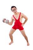 Смешной парень с dumbbels Стоковое Изображение RF