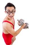 Смешной парень с dumbbels Стоковое Фото