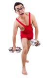 Смешной парень с dumbbels Стоковые Фото
