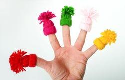 Смешной пальцы в шляпах дальше Стоковая Фотография
