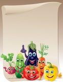 Смешной перечень компании овощей иллюстрация вектора