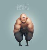 Смешной персонаж из мультфильма, боксер, кладя в коробку чемпион Стоковая Фотография