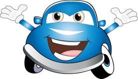 Смешной покрашенный синью автомобиль шаржа иллюстрация штока