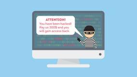 Смешной похититель шаржа в черной маске крадя информацию от ПК Злодеяние кибер иллюстрация вектора