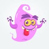 Смешной призрак шаржа показывая язык и развевая руки Иллюстрация изверга вектора хеллоуина Стоковые Фото