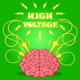 Смешной плакат: мозг с электродами подпитанными и текстом для того чтобы конструировать знамя или покрыть прибор также вектор илл Стоковые Фото
