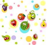Смешной плодоовощ с красочным dotteddesign - вектором бесплатная иллюстрация
