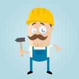 Смешной рабочий-строитель шаржа Стоковая Фотография