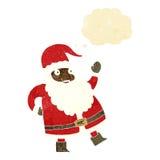 смешной развевая шарж Санта Клауса с пузырем мысли Стоковые Фотографии RF