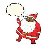 смешной развевая шарж Санта Клауса с пузырем мысли Стоковое Изображение