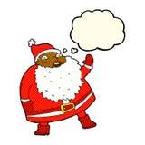 смешной развевая шарж Санта Клауса с пузырем мысли Стоковая Фотография RF