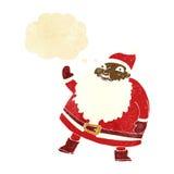 смешной развевая шарж Санта Клауса с пузырем мысли Стоковые Изображения