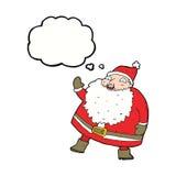 смешной развевая шарж Санта Клауса с пузырем мысли Стоковая Фотография