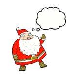 смешной развевая шарж Санта Клауса с пузырем мысли Стоковые Изображения RF