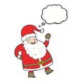 смешной развевая шарж Санта Клауса с пузырем мысли Стоковое Изображение RF