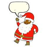 смешной развевая шарж Санта Клауса с пузырем речи Стоковые Фотографии RF