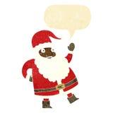 смешной развевая шарж Санта Клауса с пузырем речи Стоковые Изображения RF