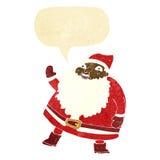смешной развевая шарж Санта Клауса с пузырем речи Стоковые Фото
