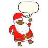 смешной развевая шарж Санта Клауса с пузырем речи Стоковое Изображение RF
