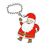 смешной развевая шарж Санта Клауса с пузырем речи Стоковое фото RF