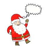смешной развевая шарж Санта Клауса с пузырем речи Стоковое Фото