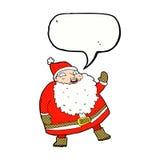 смешной развевая шарж Санта Клауса с пузырем речи Стоковые Изображения