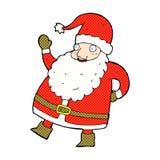 смешной развевая шарж Санта Клауса шуточный Стоковое Фото