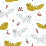 Смешной ребяческий орнамент с лисами снега Милые нарисованные вручную животные мультфильма Улучшите для ткани вектор картины безш бесплатная иллюстрация