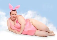 Смешной розовый зайчик. Стоковые Изображения
