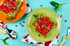 Смешной сандвич стороны ladybug для легкой закускы детей Стоковая Фотография