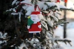 Смешной Санта Клаус на ветви рождественской елки в PA зимы Стоковая Фотография RF