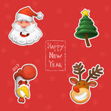 Смешной Санта Клаус, символ Нового Года, петуха, северного оленя и рождественской елки иллюстрация штока