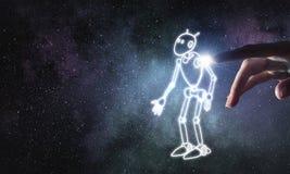 Смешной сделанный эскиз к робот Стоковое Изображение
