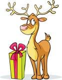 Смешной северный олень и подарок - иллюстрация вектора Стоковые Фото