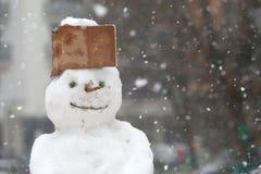 Смешной снеговик в парке при крышка сделанная из картона Стоковые Изображения