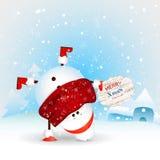 смешной снеговик рождества стоя вверх ногами приветствие рождества карточки пушка командира шаржа его секундомер воина иллюстраци Стоковое Фото