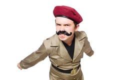 Смешной солдат в войсках Стоковые Изображения