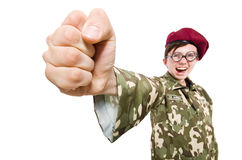 Смешной солдат в войсках Стоковая Фотография