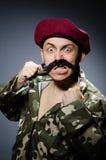 Смешной солдат в войсках Стоковое Изображение