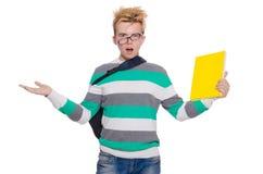 Смешной студент при изолированные книги Стоковые Фото