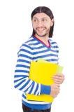 Смешной студент при изолированные книги Стоковая Фотография