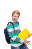 Смешной студент при изолированные книги Стоковые Фотографии RF